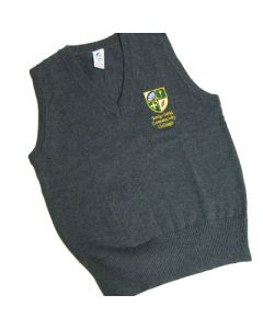 Sedgefield Girls Grey Cotton V-Neck Sleeveless Slipover w/Logo