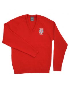 Acklam Grange Scarlet V-Neck Pullover w/Logo (Yr7-10)