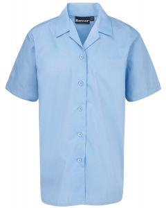 Girls Short Sleeved Rever Collar Blouse – Twin Pack – Blue