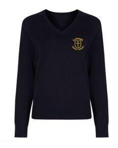 St Michael's Girls Navy V-Neck Pullover w/Logo