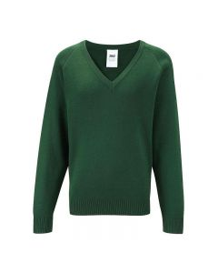 Polam Hall Senior V-Neck Courtelle Jumper - Green KS3