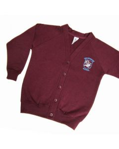 Crooksbarn Girls Maroon Cardigan w/Logo