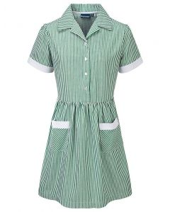 Polam Hall Girls Corded Striped Summer Dress - Green
