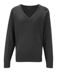 Polam Hall Senior V-Neck Performa Cotton Jumper - Black KS4